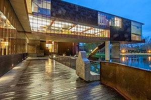 University of Iowa School of Art and Art History - Night view of University of Iowa Art Building West.