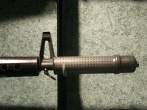 "ArmaLite AR-10 - Flash Suppressor/Compensator on early 'Hollywood"" model AR-10"