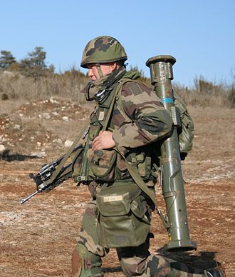 AT4 - The AT4 is man-portable, as demonstrated by this French soldier wearing a FAMAS and an AT4.
