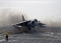 AV-8B Harrier II landing on USS Juneau ID 061106-N-7798B-004.jpg