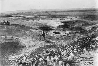 Battle of Hareira and Sheria - Ottoman lancers in foreground, infantry in the distance, with defensive ground works in the Hareira area