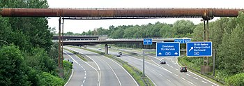 Motorway A59 / A42 in Duisburg, Germany, seen ...