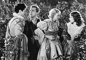 A Midsummer Night's Dream (1935 film) - Left to right: Ross Alexander, Dick Powell, Jean Muir and Olivia de Havilland