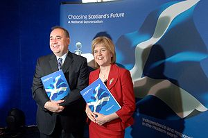 Scottish independence referendum, 2014 - The Scottish First Minister, Alex Salmond, and the Deputy First Minister, Nicola Sturgeon, at the launch of the National Conversation, 14 August 2007