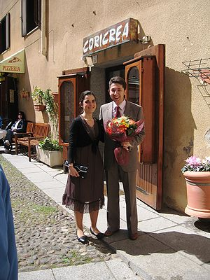 Civil marriage - A couple waiting to get married in the town of Alghero on the island of Sardinia, Italy