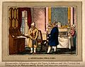 A doctor and his patient talking at cross purposes. Coloured Wellcome V0010950.jpg
