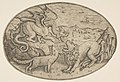 A lion, dragon and fox fighting each other, boats on the sea in the background, an oval composition MET DP818728.jpg