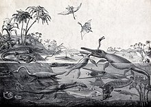 Black and white print of prehistoric animals and plants living in the sea and on the nearby shore; foreground figures include pterosaurs fighting in the air above the sea and an ichthyosaur biting into the long neck of a plesiosaur.