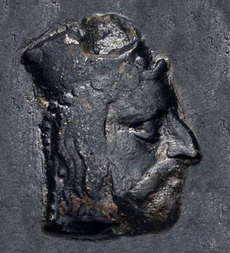 Abdashtart I - Portrait of Abdashtart (Straton) I from his coinage. Circa 365-352 BC.