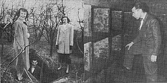 """Abel I. Smith Burial Ground - """"Photo taken in the Abel I. Smith Cemetery shows Melvin McClure, Anita Koch, Beatrice Irving at the underground vault. It has been proposed to make a park of the site."""" - Home News Photo"""