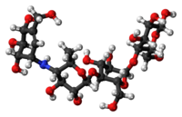 Ball-and-stick model of the acarbose molecule