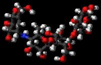 Pilk-kaj-bastona modelo de la Acarbosmolekulo