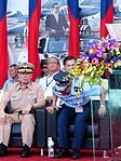 Admiral Chen Yeong-kang, ROCN Commander General and Liu Zen-Wu, ROCAF Commander in Review Stand of New Taipei City Plaza 20140906.jpg