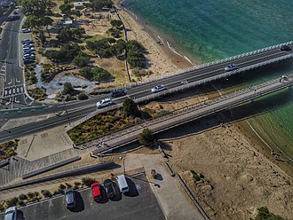 Bellarine Peninsula - Aerial perspective of Barwon Heads bridge