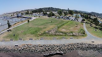 Radke Martinez Regional Shoreline - Aerial view of Radke Martinez Regional Shoreline Park, with the Martinez Marina on left.