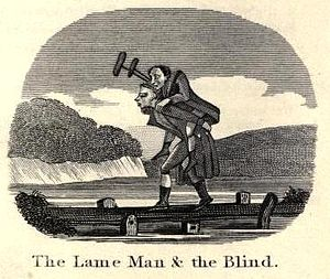 The Blind Man and the Lame - An illustration of the parable in Jefferys Taylor's Aesop in Rhyme, 1820