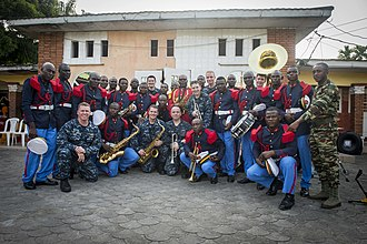 Military band - Cameroonian and American military band members in Douala, March 2015