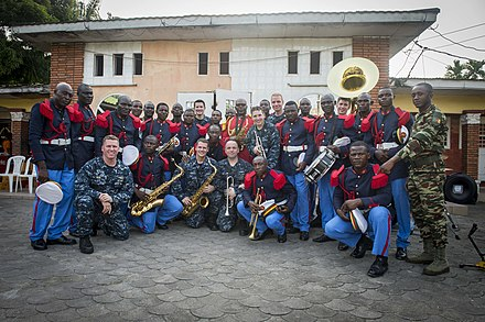 Cameroonian and American military band members in Douala, March 2015 Africa Partnership Station 150314-N-JP249-245.jpg