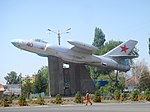 A monument in the form of Soviet Il-28 bomber in Tokmok (Chuy Province, Kyrgyzstan).