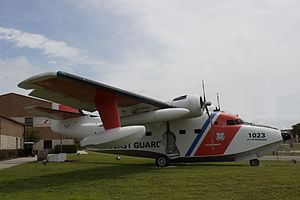 Coast Guard Air Station Clearwater - A completely restored Albatross, designated USCG-1023, sits in front of the entrance to the Air Station.