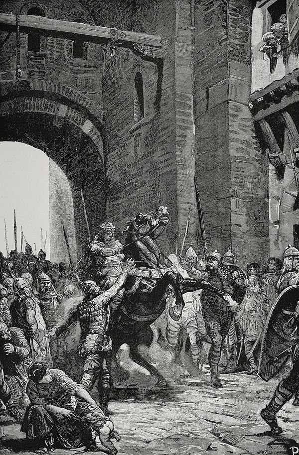 The capture of Pavia by the Lombard King, Alboin: Siege of Pavia, 572 AD