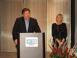 Alec Baldwin and Ingrid Newkirk Shankbone on stage