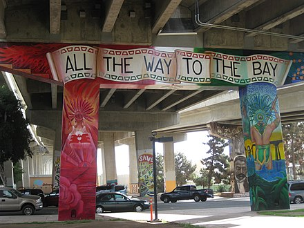 "Mural in Chicano Park, San Diego stating ""All the way to the Bay"" All the Way to the Bay mural in Chicano Park.JPG"