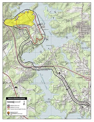 Battle of Allatoona - Map of Allatoona Battlefield core and study areas by the American Battlefield Protection Program.