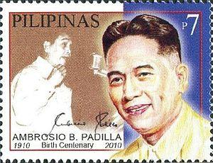 Ambrosio Padilla - Image: Ambrosio Padilla 2010 stamp of the Philippines 3