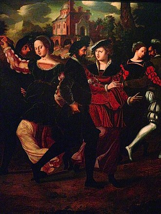 Renaissance dance - Ambrosius Benson, Elegant couples dancing in a landscape, before 1550