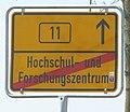 Amtl Ortstafel Ortsende ohne Ort auch gültig nach StVO Hochschul- und Forschungszentrum Garching & TUM Foto Wolfgang Pehlemann IMG 1508.jpg