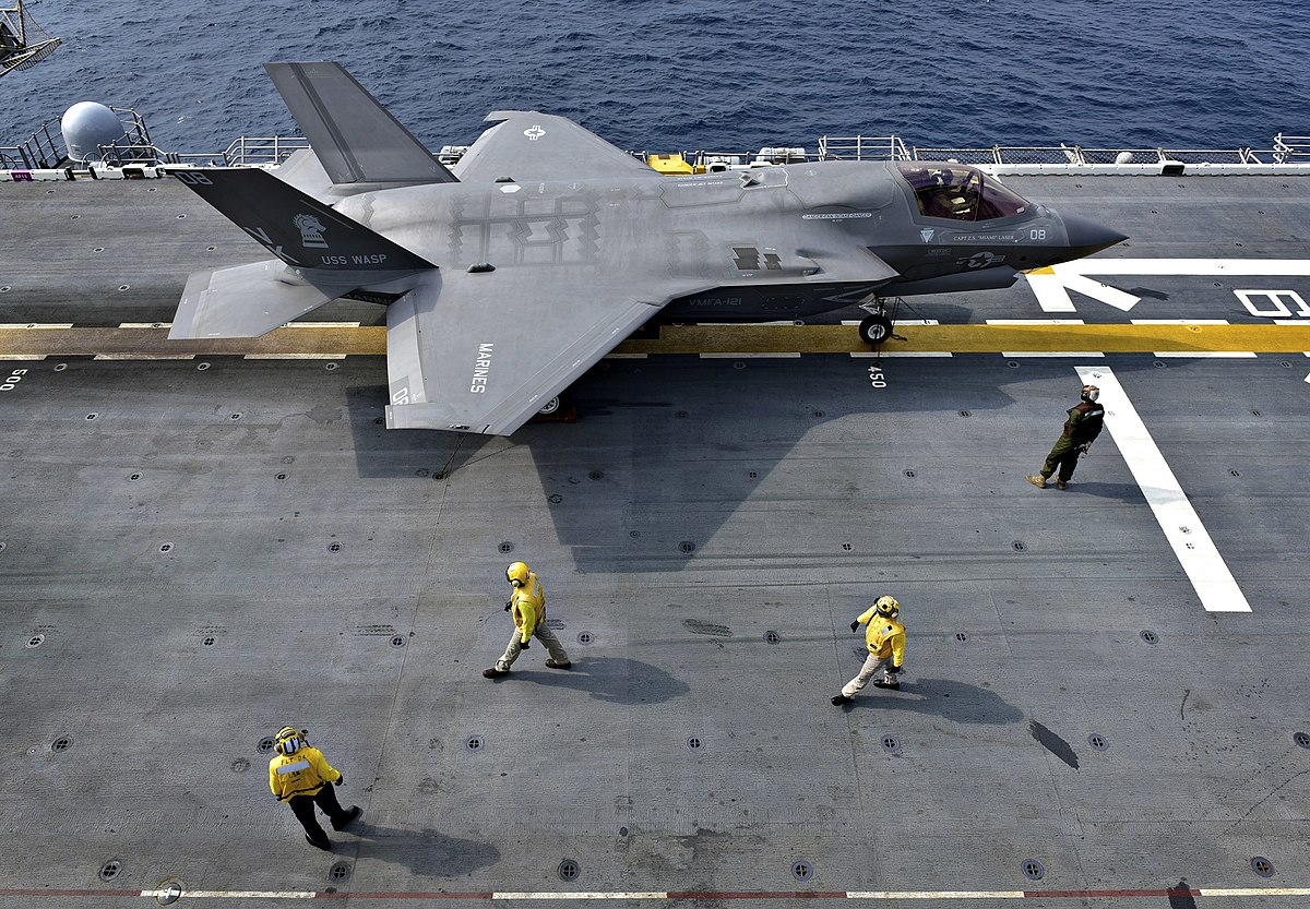 An F-35B Lightning II aircraft is secured aboard USS Wasp (LHD 1). (40497948623).jpg