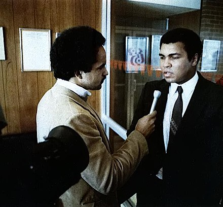 Ali being interviewed by WBAL-TV's Curt Anderson, 1978, Baltimore, Maryland Anderson ali.jpg