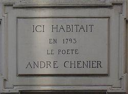 Photo of André Chenier white plaque
