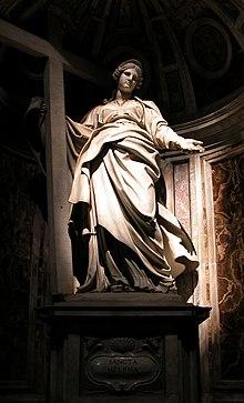 Sant'Elena con la Vera Croce in una statua di Andrea Bolgi, conservata nella basilica di San Pietro a Roma