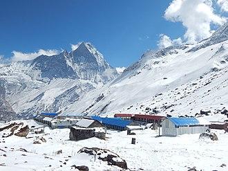 Annapurna I East - Image: Annapurna Base camp with Machhapuchre view