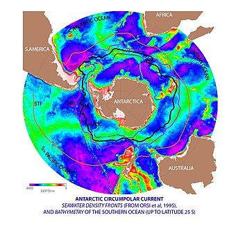 The Antarctic Circumpolar Current (ACC) is the strongest current system in the world oceans, linking the Atlantic, Indian and Pacific basins. Antarctic Circumpolar Current.jpg