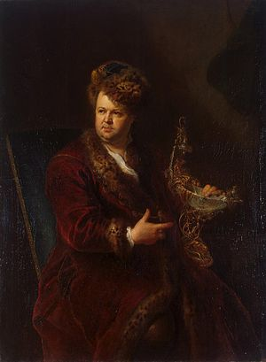 Johann Melchior Dinglinger - In Dinglinger's portrait by Antoine Pesne, c. 1721, the entrepreneur, swathed in furs, displays his richly-mounted translucent chalcedony Dianabad (Hermitage, St Petersburg)