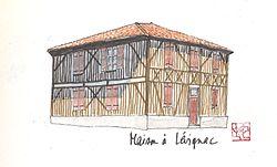 Aquarelle d'une maison landaise typique à Lévignacq.jpg