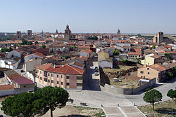 City of Arévalo as seen from the Castle.It is one of the cities of Castile with a high amount of monuments of the Romanic-Mudéjar style.