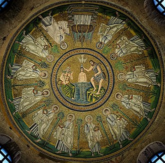 Arianism - The ceiling mosaic of the Arian Baptistery, built in Ravenna by the Ostrogothic King Theodoric the Great.
