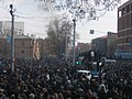 Armenian Presidential Elections 2008 Protest Day 11 - French Embassy Demonstration 330pm police car ablaze.jpg