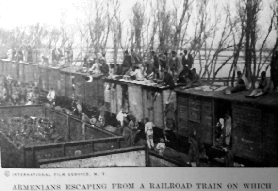 Armenians 1915 escaping from a railroad train