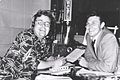 Art Hellyer interviewing Andy Griffith on WCFL-AM Chicago in 1953.jpg