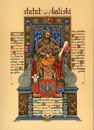 Statute of Kalisz - Image: Arthur Szyk (1894 1951). Statute of Kalisz, frontispiece (Casimir the Great) (1927), Paris