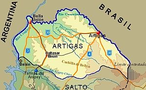 Artigas Department - Topographic map of Artigas Department showing main populated places and roads
