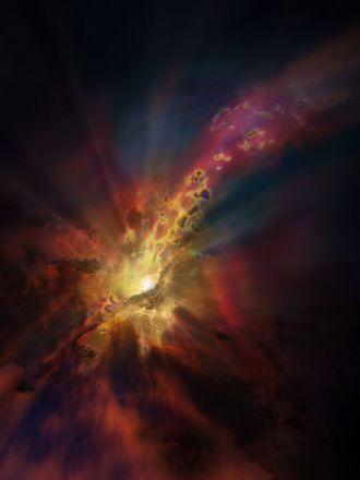 Abell 2597 - Image: Artist's impression of cold intergalactic rain
