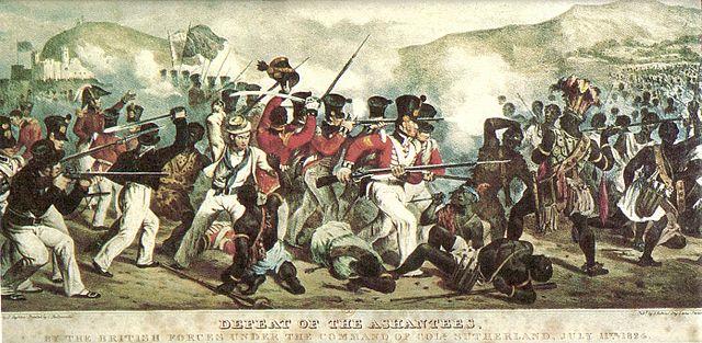 Derrota de los Ashantees, por las fuerzas británicas bajo el mando de Coll. Sutherland, 11 de julio de 1824 (Commons)