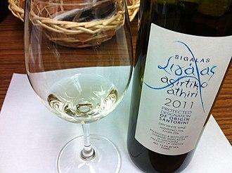 Santorini (wine) - A Santorini wine blend of Assyrtiko and Athiri.