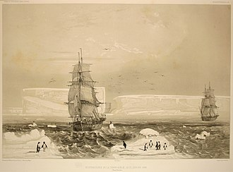 Antarctica - Discovery and claim of French sovereignty over Adélie Land by Jules Dumont d'Urville, in 1840.